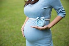 拿着一个蓝色闹钟,草backgrou的亚洲人孕妇 库存图片