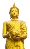 拿着一个金黄碗的菩萨 库存图片