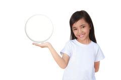 拿着一个玻璃球的小女孩现有量 图库摄影