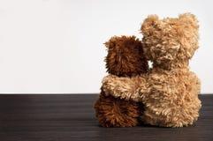 拿着一件s女用连杉衬裤的2头胳膊熊友 图库摄影