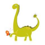 拿着一只小红色蝴蝶的逗人喜爱的绿色恐龙动画片 传染媒介EPS 10迪诺乱画集合 免版税库存照片