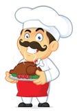 拿着一只被烘烤的鸡的厨师 图库摄影