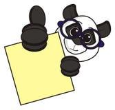 拿着一块空白的板材的熊猫 免版税库存照片