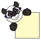 拿着一块空白的板材的熊猫 免版税图库摄影