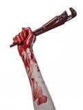 拿着一把可调扳手,血淋淋的钥匙,疯狂的水管工,血淋淋的题材,万圣夜题材,白色背景的血淋淋的手,被隔绝 库存图片