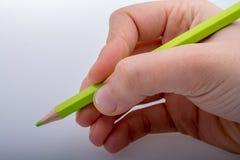 拿着一支绿色铅笔的手 免版税库存图片