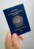 拿着一本巴西护照-新的模型 免版税库存图片