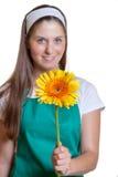 拿着一朵五颜六色的花的女性卖花人 免版税库存图片