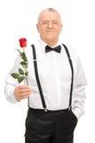 拿着一朵红色玫瑰的典雅的资深绅士 免版税图库摄影