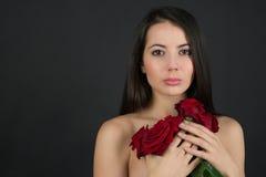 有花的妇女 免版税库存图片