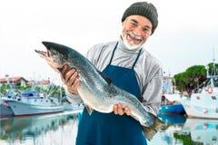 拿着一条大大西洋三文鱼鱼的Fisher 库存照片
