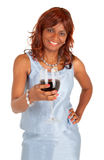 拿着一杯红葡萄酒的妇女 库存照片