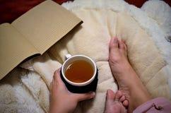 拿着一杯茶 库存照片