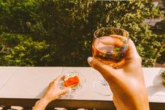 拿着一杯酒的女性手 免版税库存图片