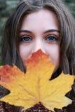 拿着一片金黄叶子的一个十几岁的女孩的画象 免版税库存图片