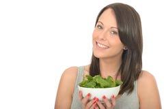 拿着一碗新鲜的未加工的菠菜的可爱的愉快的健康少妇 免版税库存图片
