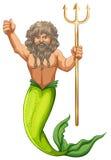 拿着三叉戟的男性美人鱼 免版税库存图片