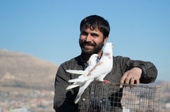 拿着与两只鸟的鸽子收藏家一只笼子对此 免版税库存照片