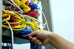 拿着与以太网电缆和网络交换式集线器LAN系统通信的手LAN绳子 库存照片