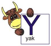 拿着与信件Y的牦牛一个标志 免版税图库摄影
