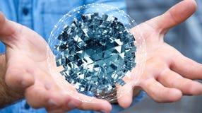 拿着与发光的立方体3D的商人飞行的抽象球形关于 库存照片