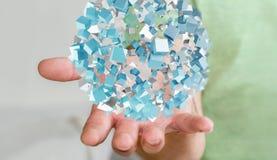 拿着与发光的立方体3D的商人飞行的抽象球形关于 图库摄影
