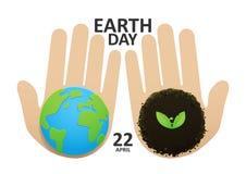 拿着与叶子的人的手绿色地球 免版税库存照片