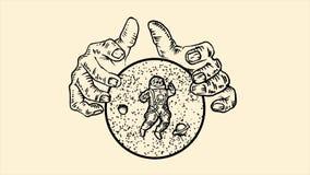 拿着与星、行星和宇航员的巨型手球形米黄背景的 o 单色抽象 皇族释放例证