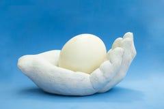 拿着与蓝色backgrou的一只人的手的雕象一个驼鸟鸡蛋 免版税图库摄影