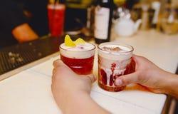 拿着与装饰作者被启发的鸡尾酒饮料的侍者著名玻璃水多的工艺鸡尾酒在酒吧柜台 r 图库摄影