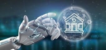 拿着与象、stats和数据3d翻译的靠机械装置维持生命的人聪明的家庭接口 库存例证