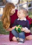 拿着与他的妈妈的年轻男孩圣诞节礼物在公园 库存图片