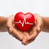 拿着与ecg线的女性手心脏 库存照片