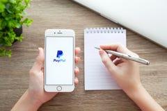 拿着与PayPal的妇女iPhone 6S罗斯金子在屏幕上 免版税库存照片