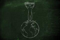 拿着世界和平横幅的人在地球顶部 库存图片