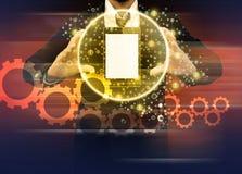 拿着世界技术手机的商人 免版税库存图片