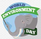 拿着世界环境日的大象一面纪念旗子,传染媒介例证 皇族释放例证