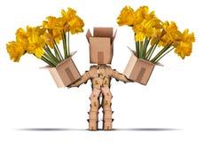 拿着两箱花的Boxman字符 免版税库存图片