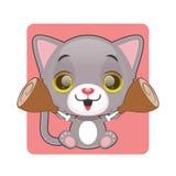 拿着两肉片的逗人喜爱的灰色猫 库存照片