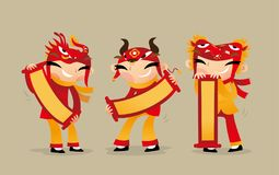 拿着中国问候纸卷的三个中国孩子庆祝春节来临 库存例证