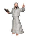 拿着书图解的教士教士宗教领导 免版税库存照片