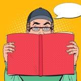 拿着书的流行艺术惊奇的人 培训的概念 向量例证