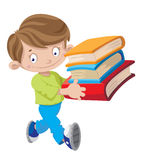 拿着书的男孩 免版税库存照片