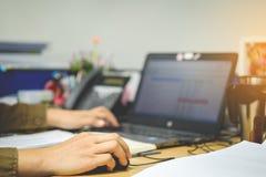 拿着事务的,企业骗局的女性手计算机老鼠 图库摄影