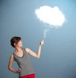 拿着云彩的美丽的夫人 图库摄影