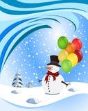 拿着五颜六色的气球的愉快的雪人 免版税库存图片