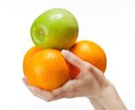拿着人的新鲜水果现有量 免版税图库摄影