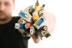 拿着人的电缆 图库摄影