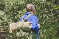 拿着他的有毯子的旅行家老背包 旅途的概念在森林里 库存图片
