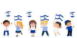 拿着以色列旗子的孩子 庆祝以色列独立日 免版税库存图片